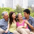 Stock Photo: Portrait Of Chinese Parents With Adult Children Relaxing In Park