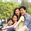 Royalty-Free Stock Photo: Young Chinese Family Relaxing In Park Together