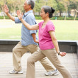 Royalty-Free Stock Photo: Senior Chinese Couple Doing Tai Chi In Park