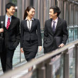 Three Business Colleagues Having Discussion Whilst Walking Outsi — Stock Photo