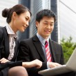 Chinese Businessman And Businesswoman Working On Laptop Outside — Stock Photo