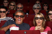 Couple Watching 3D Film In Cinema — Stock Photo