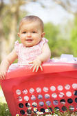 Baby Girl In Summer Dress Sitting In Laundry Basket — Stock Photo