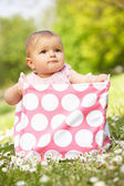 Baby Girl In Summer Dress Sitting In Bag — Stock Photo
