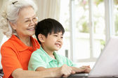 Chinese Grandmother And Grandson Sitting At Desk Using Laptop At — Stock Photo