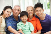 Portrait Of Multi-Generation Chinese Family Relaxing At Home Tog — Photo