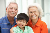 Portrait Of Chinese Grandparents With Grandson Relaxing At Home — Stock Photo
