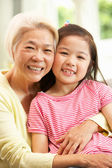 Chinese Grandmother And Granddaughter Relaxing On Sofa At Home — Stock Photo