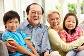 Portrait Of Chinese Grandparents With Grandchildren Relaxing At — Stock Photo