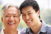 Retrato de pai chinês com um filho adulto no parque — Foto Stock