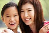 Portret van chinese moeder met dochter in park — Stockfoto