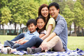 Young Chinese Family Relaxing In Park Together — Stock Photo