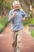 Senior Chinese Man Jogging In Park — Stock Photo