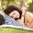 Couple Relaxing Together In Garden — Stock Photo
