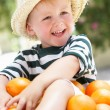 Boy Sitting In Wheelbarrow Filled With Oranges — Stock Photo
