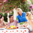 Group Of Young And Senior Couples Enjoying Family Meal — Stock Photo #24638681