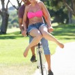 Couple Enjoying Cycle Ride — Stock Photo