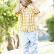 Young Boy Playing In Summer Garden — Stock Photo