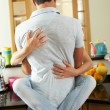 Romantic Couple Hugging In Kitchen — Stock Photo