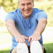 Senior Man Exercising In Park - Foto Stock