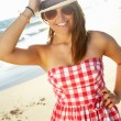 Attractive Teenage Girl Wearing Dress On Beach Holiday — Stock Photo