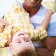 Father And Son Playing In Summer Garden — Stock Photo