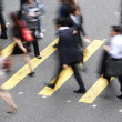 Overhead View Of Commuters Crossing Busy Hong Kong Street — Stok fotoğraf