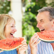 Senior Couple Enjoying Slices Of Water Melon — Stock Photo #24639933