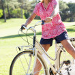 Stock Photo: Senior WomEnjoying Cycle Ride