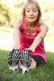 Mulher sênior exercitar no parque — Fotografia Stock