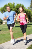 Senior Couple Exercising In Park — Stockfoto