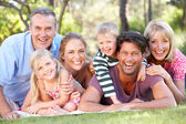 Extended Family Group Relaxing In Park Together — Stock Photo