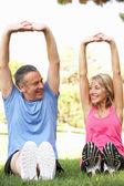 äldre par utövar i park — Stockfoto