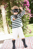 Young Boy Wearing Wellington Boots And Fancy Dress Costume — Stock Photo