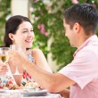Couple Enjoying Meal outdoorss — Stock Photo