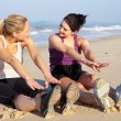 Two Women Exercising On Beach — Stock Photo