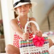 Girl Wearing Swimming Costume With Straw Hat And Bag — Stock Photo