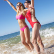 Stock Photo: Two Women Enjoying Beach Holiday