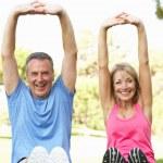 Senior Couple Exercising In Park — Stock Photo