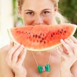 Woman Enjoying Slice Of Water Melon — Stock Photo