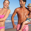 Family Having Fun On Beach — Stock Photo
