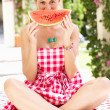 Woman Enjoying Slice Of Water Melon - Foto de Stock