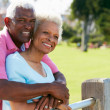 Senior Couple Walking In Park Together — Foto Stock