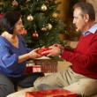 Senior Couple Exchanging Gifts In Front Of Christmas Tree — Stock fotografie