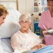 Doctor With Nurse Talking To Senior Female Patient In Bed — Stock Photo