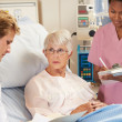Doctor With Nurse Talking To Senior Female Patient In Bed — Stock Photo #24645203