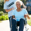 Stock Photo: Teenage Volunteer Pushing Senior Woman In Wheelchair