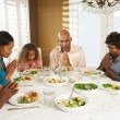 Multi Generation Family Saying Grace Before Meal At Home — Stock Photo