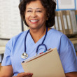 Stock Photo: Female Nurse At Nurses Station