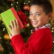 Boy Holding Christmas Present In Front Of Tree — Stock fotografie